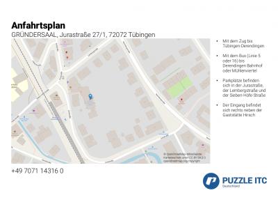 Anfahrtsplan Jurastraße 27/1, 72072 Tübingen
